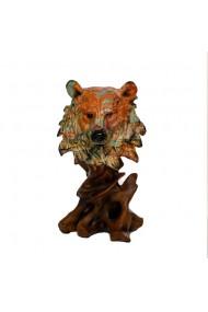 Decoratiune multicolora cap de urs 15 x 31 cm