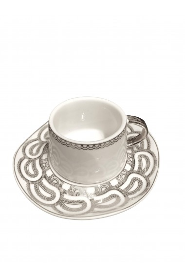 Set ceasca cu farfurioara si lingurita Elegant Alb Ceramica 100 ml