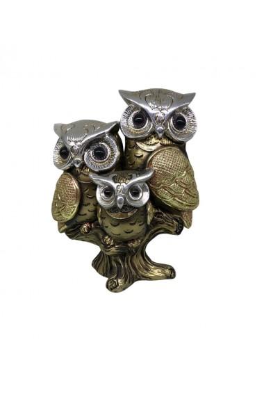 Decoratiune 3 Bufnite Regale Gold Owls