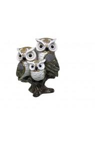 Decoratiune 3 Bufnite Regale White Owls