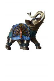 Elefant albastru cu trompa in sus feng shui 18 cm