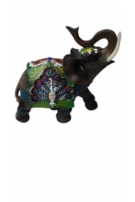 Elefant verde cu trompa in sus feng shui 18 cm