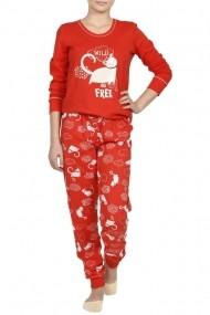 Pijama cu imprimeu WILD FREE rosu
