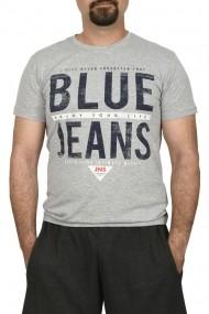 Tricou barbat imprimeu Blue Jeans gri