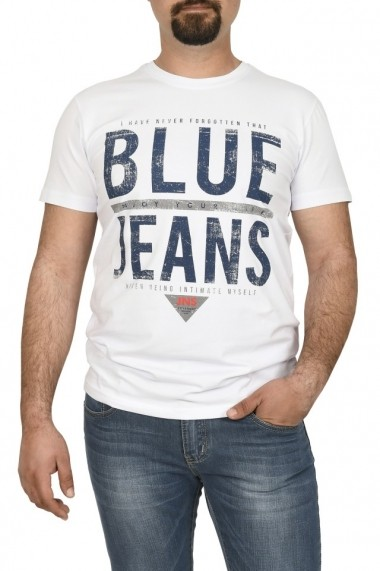 Tricou barbat imprimeu Blue Jeans alb