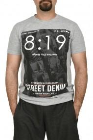 Tricou barbat cu imprimeu Street Denim gri
