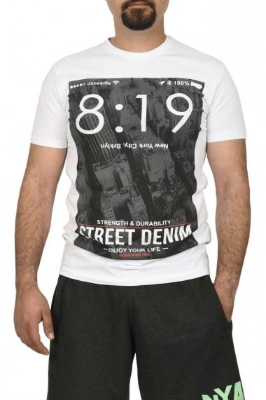 Tricou barbat cu imprimeu Street Denim alb