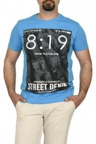 Tricou barbat cu imprimeu Street Denim turcoaz