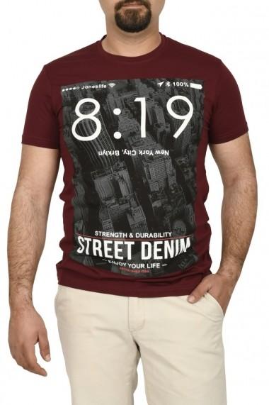 Tricou barbat cu imprimeu Street Denim grena