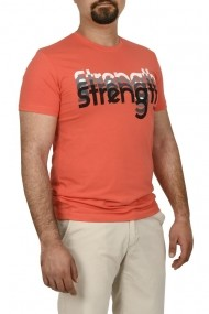 Tricou barbat cu imprimeu STRENGTH corai