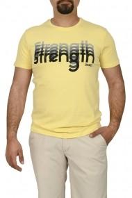 Tricou barbat cu imprimeu STRENGTH galben