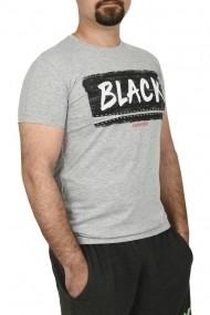Tricou slim fit cu imprimeu BLACK gri