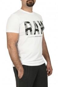 Tricou slim fit cu imprimeu RAW alb