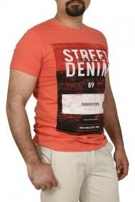 Tricou slim fit cu imprimeu STREET DENIM corai