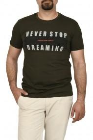 Tricou slim fit NEVER STOP DREAMING kaki