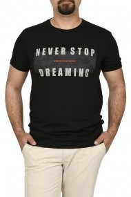 Tricou slim fit NEVER STOP DREAMING negru