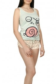 Pijama dama cu imprimeu haios Pink Secret bleu