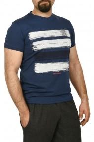 Tricou barbat cu imprimeu grafic albastru