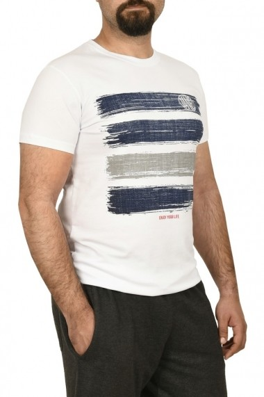 Tricou barbat cu imprimeu grafic alb