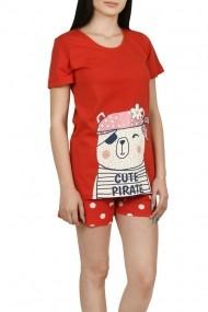 Pijama dama cu pantalon scurt cu buline rosu