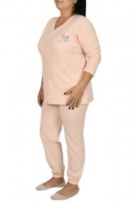 Pijamale dama din bumbac marimi mari Lady roz