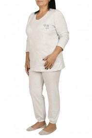 Pijamale dama din bumbac marimi mari Lady gri