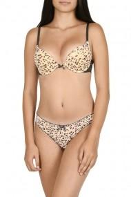 Set sutien cu chilot imprimeu leopard Lemila gri