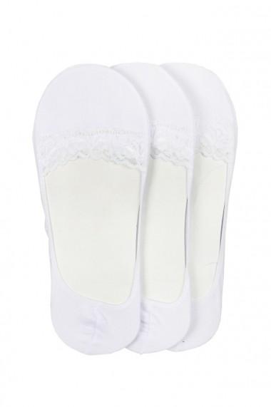 Talpici dama din bumbac set 3 perechi alb