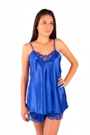 Pijama dama din satin MissDore albastru electric