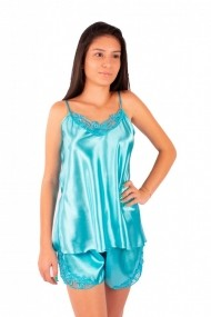 Pijama dama din satin MissDore turcoaz