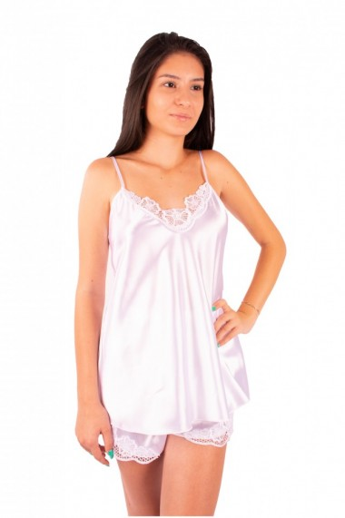 Pijama dama din satin MissDore alb