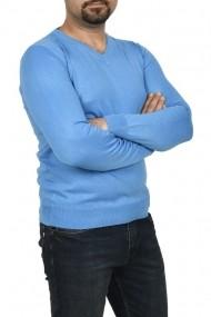 Pulover barbat in anchior turcoaz