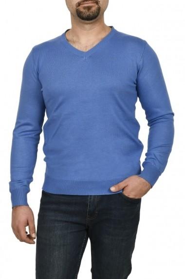 Pulover barbat in anchior albastru