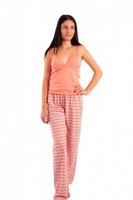 Pijama dama cu pantalon lung Linse portocaliu