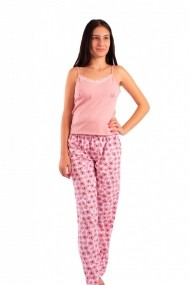 Pijama dama cu pantalon lung Linse roz pudra