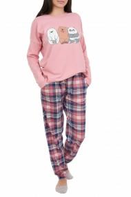 Pijamale dama Panda roz pudra