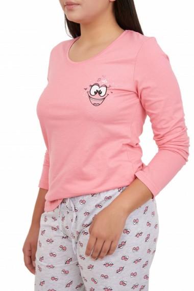 Pijamale dama din bumbac Smile roz piersic