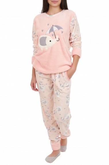 Pijamale polar cu blanita roz