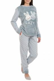 Pijamale polar cu blanita LAZY grey blue