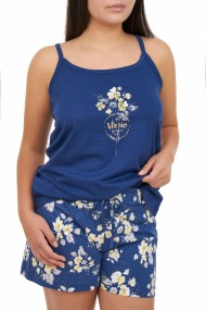 Pijama dama cu pantalon scurt HELLO bleumarin