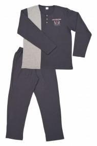 Pijamale barbat cu nasturi gri inchis