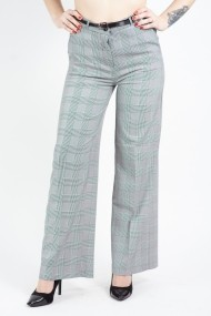 Pantaloni office evazati gri in carouri