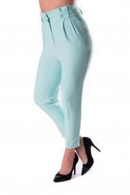 Pantaloni eleganti cu talie inalta verde deschis