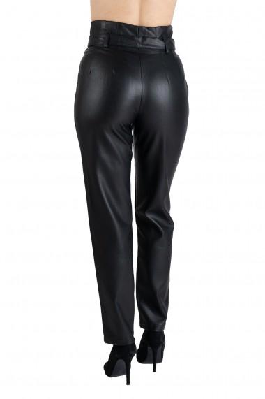 Pantaloni Negri Din Piele Ecologica Cu Talie Inalta Zip