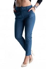Pantaloni Eleganti Din Catifea Raiat Albastri Turcoaz Charlotte