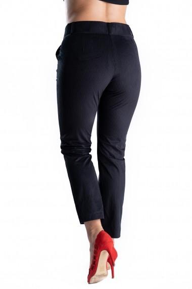 Pantaloni Eleganti Din Catifea Raiat Negri Charlotte