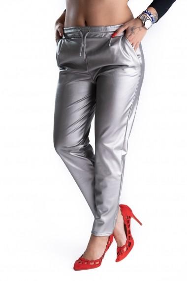 Pantaloni Piele Ecologica Arginti Vatuiti Gen Boyfriend Rihanna
