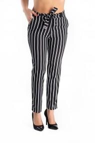 Pantaloni Negri cu Dungi Albe Hazel