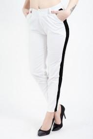Pantaloni Casual Tip Blug Albi Cu Vipusca Neagra