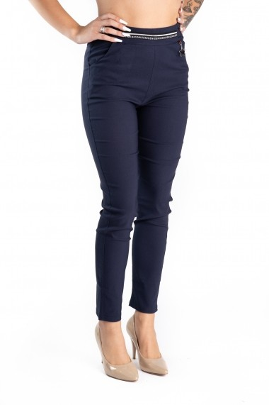 Pantaloni Dama Stofa Elastica Bleumarin Samira